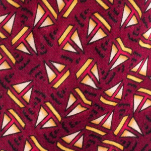 Maroon with Sailboat Motif Regular 100% Silk Necktie