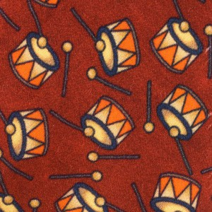 Brown with Drum Motif Regular 100% Silk Necktie