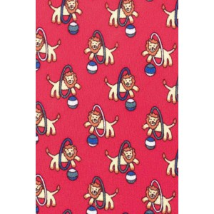 Red Circus Lion Slim 100% Silk Necktie