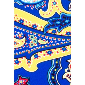 Blue and Yellow Paisley Slim 100% Silk Necktie