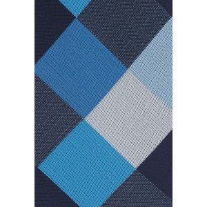 Asteria Checkered Blue And Grey Silk Necktie