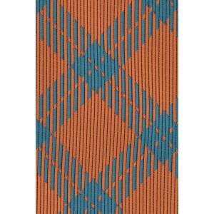 Anthem Plaid Orange And Teal Silk Necktie