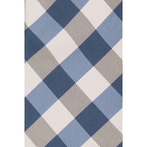 Rangel Blue And Cream Silk Plaid Necktie