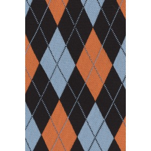 Twill Black And Rust Plaid Silk Necktie