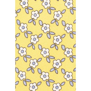 Retro Floral Yellow 100% Silk Necktie