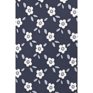 Retro Floral Blue 100% Silk Necktie