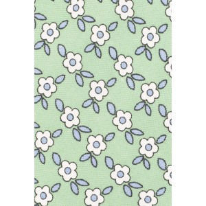 Retro Floral Green 100% Silk Necktie