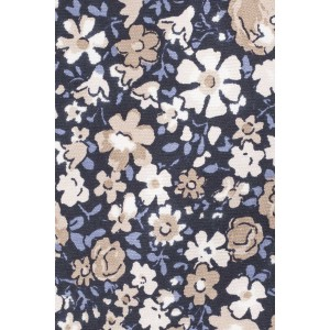 Alfresco Blue and Beige Floral 100% Silk Necktie