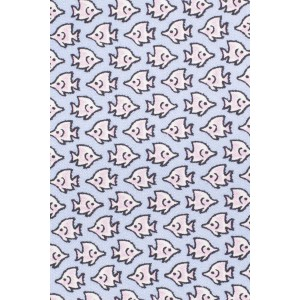 Fish Print Sky Blue 100% Silk Necktie