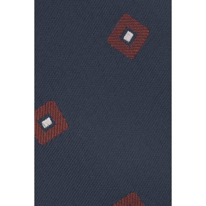 Square Polka Blue and Maroon 100% Silk Necktie