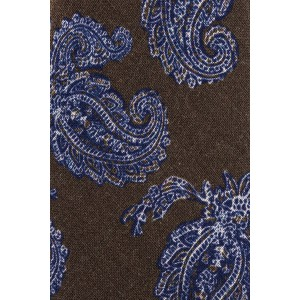 Trade Paisley Brown and Blue 100% Shantung Silk Necktie