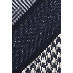 Quinn Houndstooth Blue and Grey Stripe Necktie