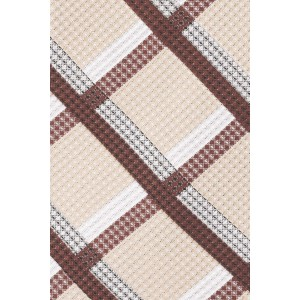 Stat Plaid Brown and Beige  100% Silk Necktie