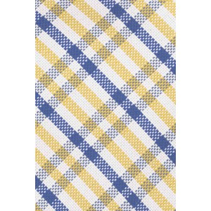 Metric Plaid Yellow And Blue 100% Silk Necktie