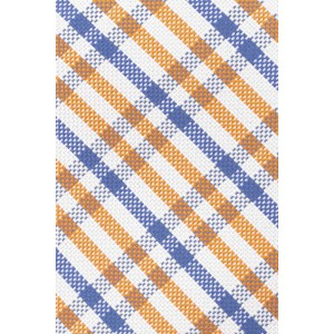 Metric Plaid Orang And Blue 100% Silk Necktie