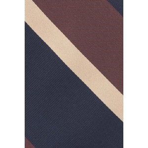 Gold Line Stripe Brown and Blue 100% Silk Necktie