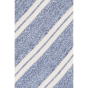 Academy Stripe Blue and Cream Silk and Cotton Necktie