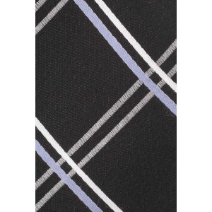 Flatline Plaid Black and Purple 100% Silk Necktie