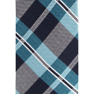 Abbey Plaid Teal and Blue 100% Silk Necktie