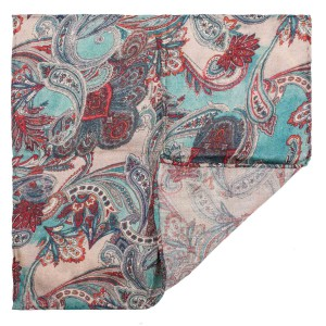 Paisley Cream 100% Pashmina Pocket Square