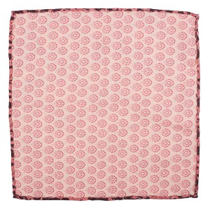 Medallion Floral Pink Silk Reversible Pocket Square
