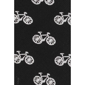 Black Bicycle Ultra Thin Woven Microfiber Necktie