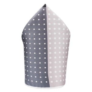 Four Square Polka Grey and Black Silk Pocket Square For Men By The Tie Hub