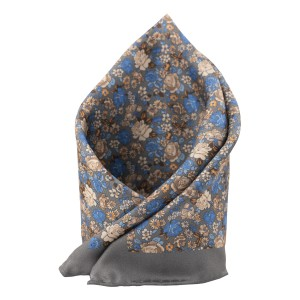 Grey and Blue Printed 100% Silk Pocket Square