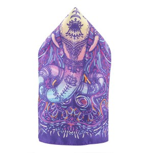 Elephant Head Multicolour 100% Silk Pocket Square