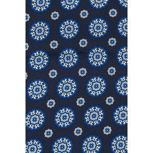 Blue with Stars and Circle Design 100% silk scarf