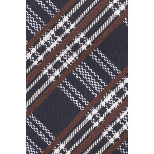 Brace Plaid Blue and Brown Silk Necktie