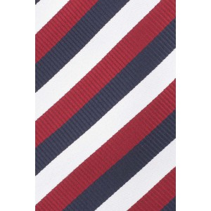 Hutton Stripe Navy and Maroon Silk Necktie