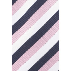 Hutton Stripe Navy and Pink Silk Necktie