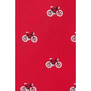 Maroon with White Bicycle 100% Silk Necktie