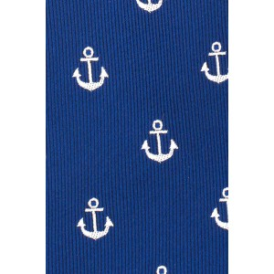Blue with White Anchor Microfiber Necktie