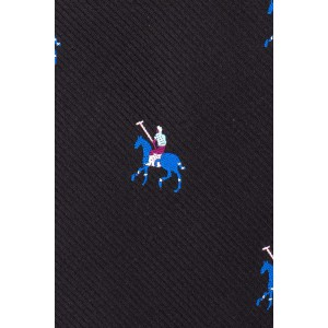 Derby Horse Black 100% Silk Necktie