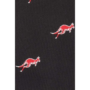 Black with Red Kangaroo 100% Silk Necktie