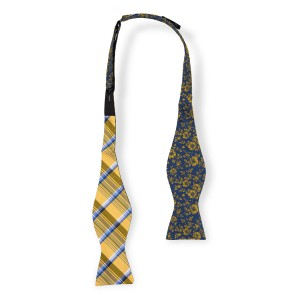 Free Fall Floral Blue and Yellow Reversible Silk Self Tie Bow Tie