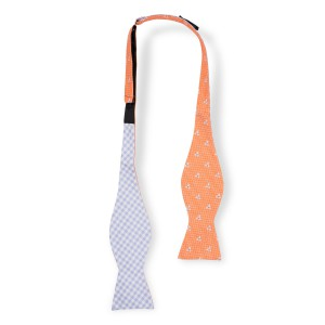 Pinwheel Orange Reversible Silk Self Tie Bow Tie