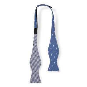 Shark Blue Reversible Silk Self Tie Bow Tie