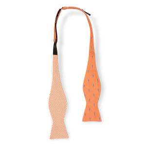 Shark Orange Reversible Silk Self Tie Bow Tie