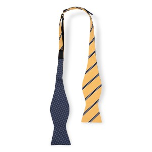 Pike Stripe Yellow and Blue Reversible Silk self Tie Bow Tie