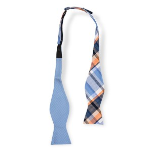 Flicker Plaid Orange and Blue Reversible Silk Self Tie Bow Tie