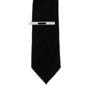 BRASS TIE BAR BLACK AND SILVER