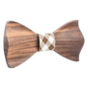 3D Wave White Wood Bow Tie