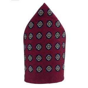 Dotted Hitch Maroon Wool Pocket Square For Men By The Tie Hub
