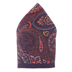 Paiosly Printed Purple Wool Pocket Square