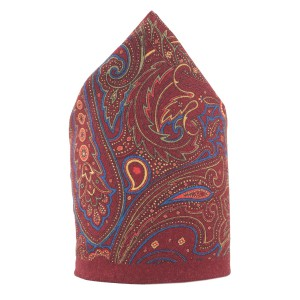 Paisly Printed Tomato Wool Pocket Square