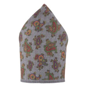 Paisly Print Grey and Green Wool Pocket Square