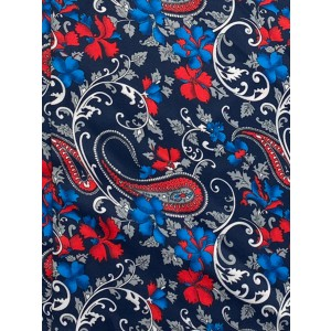 Blue with Red Floral Paisley Silk Cravat By The Tie Hub